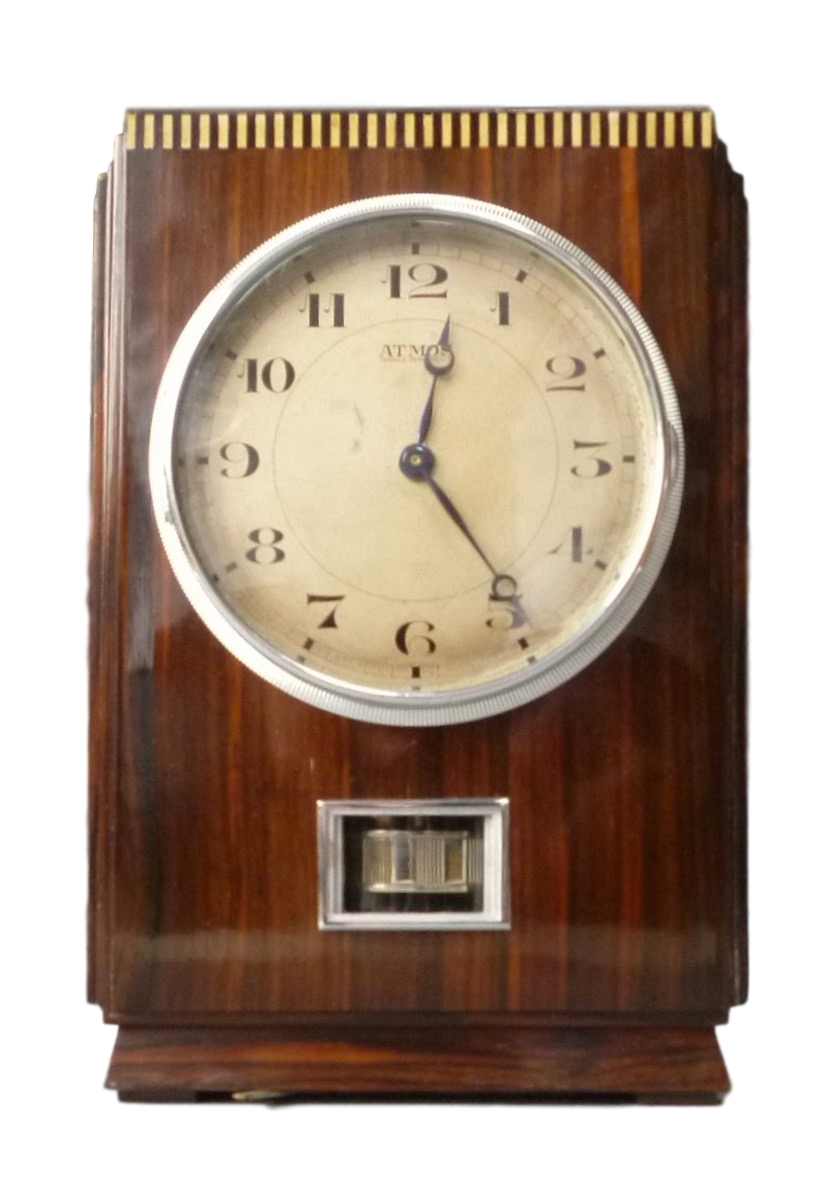 Wooden Atmos clock, coromandel veneers, J.L. Reutter,model LG I,No 617, France circa 1930.